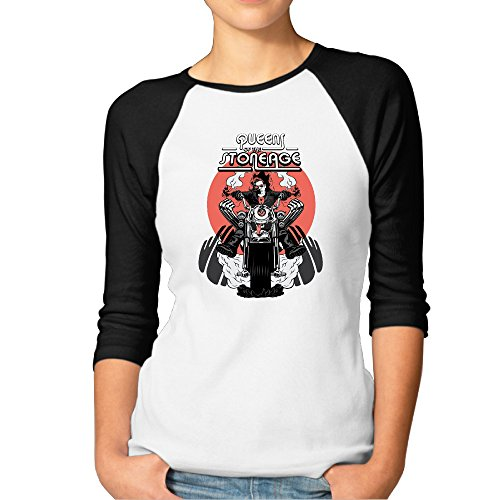 Queens Of The Stone Age - Art Print Rock Band Womens 3/4 Sleeve Raglan Tee Shirts - Canopy Sleeves