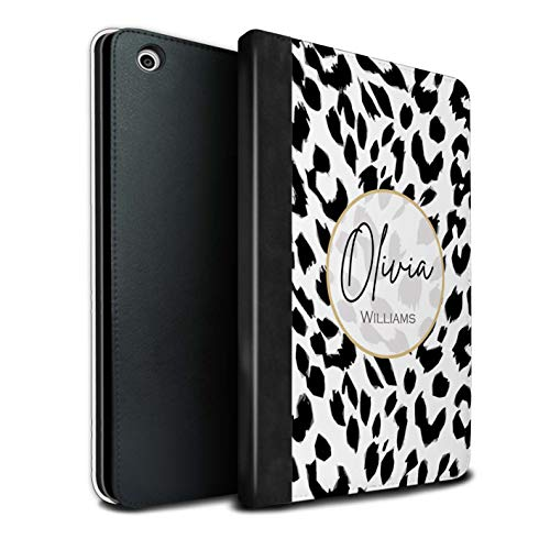 Personalized Custom Fashion Animal Print Pattern PU Leather Case for Apple iPad Mini 1/2/3 / Snow Leopard Design/Initial/Name/Text DIY Tablet Book Cover