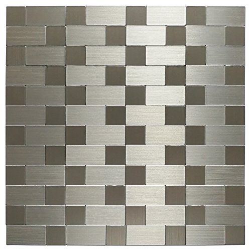 Metal Wall Accent Tile (Art3d 10-Pack Self-adhesive Metal Backsplash Peel and Stick Tile For Kitchen, 12