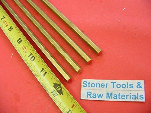 4 Pieces 1/4'' C360 BRASS HEX BAR 12'' long New Lathe Bar Stock .250'' 1/2 Hard by Stoner Metals