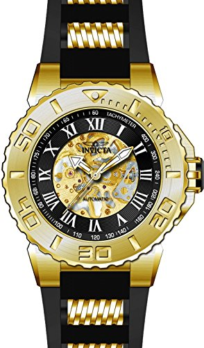 Men's 'Pro Diver' Automatic Gold-Tone and Stainless Steel Casual Watch, Color:Black (Model: ) - Invicta 24742