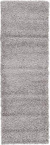 - Unique Loom Solo Solid Shag Collection Modern Plush Cloud Gray Runner Rug (2' 2 x 6' 5)