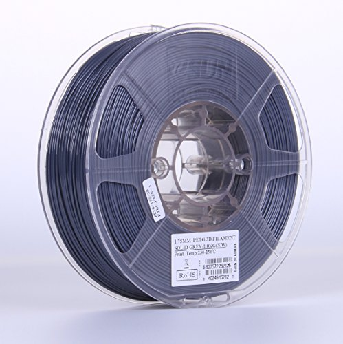 eSUN 3D 1.75mm Solid Gray PETG 3D Printer Filament 1KG Spool (2.2lbs), 1.75mm Solid Opaque Gray