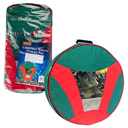 """Christmas Wreath Storage Bag with Handles (24"""" x 6"""") - Water and Tear Resistant, Heavy Duty Woven Construction"""