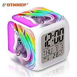 DTMNEP Unicorn Alarm Clock for Kids, LED Digital Bedroom Alarm Clock Easy Setting Cube Wake Up Clocks with 4 Sided Unicorn Pattern Soft Nightlight Large Display Ascending Sound