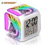 DTMNEP Unicorn Alarm Clock for Kids, LED Digital Bedroom Alarm Clock Easy Setting Cube Wake Up Clocks with 4 Sided Unicorn Pattern Soft Nightlight Large Display Ascending Sound