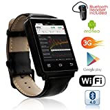 Indigi NEW 2017 3G Android 5.1 Smart Watch Phone (GSM Factory Unlocked) Heart Rate + Maps + WiFi + GPS + Google Play + Bluetooth bundle