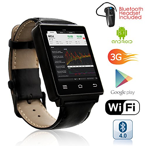 Indigi NEW 2017 3G Android 5.1 Smart Watch Phone (GSM Factory Unlocked) Heart Rate + Maps + WiFi + GPS + Google Play + Bluetooth bundle by inDigi