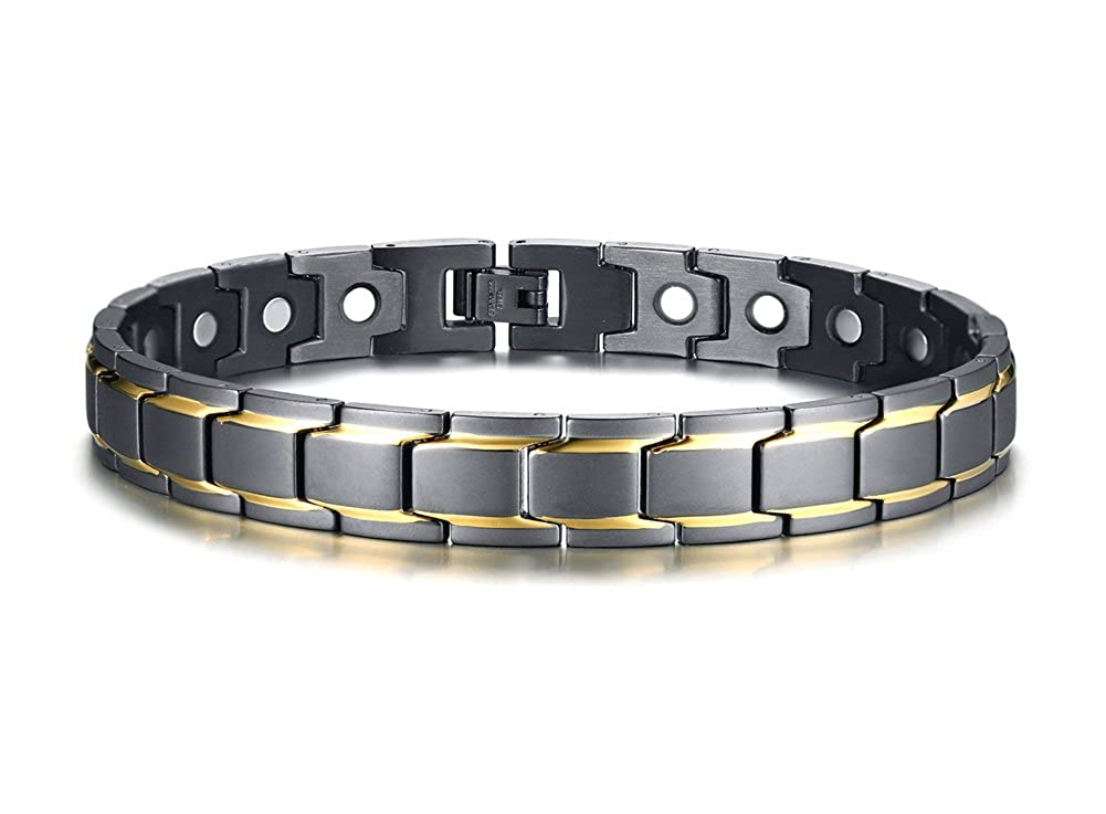 Stainless Steel Two-Tone Magnetic Therapy Anklet Bracelet, Arthritis Pain Relief & Inflammation Reduction for Feet and Ankles Mealguet MG--JBRM--003