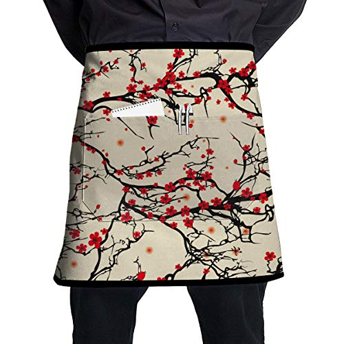 (O-X_X-O Japanese Cherry Blossom Waist Apron Server Apron with Pockets Commercial Restaurant Waitress Waiter Waterproof Kitchen Apron for Men Women Half Bistro Aprons )