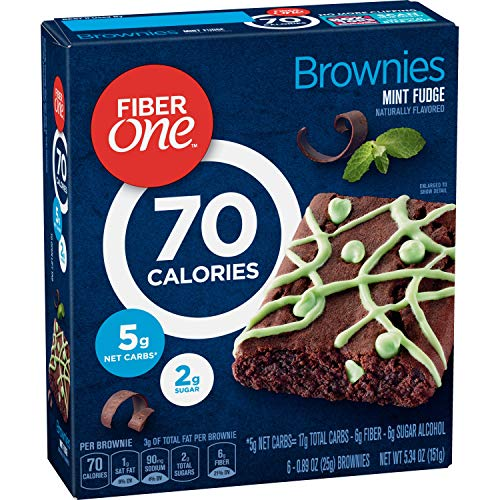 Fiber One Brownies, 70 Calorie Bar, 5 Net Carbs, Snacks, Mint Fudge, 6ct (Pack of - Chocolate Fudge Mint