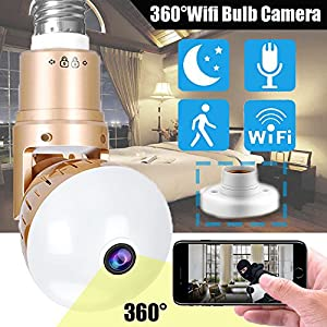 Symfury Bulb IP Camera 360 Panoramic WiFi Fisheye Spy Hidden Cameras with Night Vision Motion Detection Pet Baby Monitor Nanny Camera for Home Security Outdoor Surveillance Cam for Android iPhone