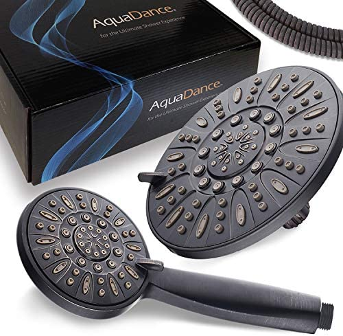 "AquaDance 7"" Premium High Pressure 3-Way Rainfall Combo with Stainless Steel Hose – Enjoy Luxurious 6-setting Rain Shower Head and Hand Held Shower Separately or Together – Oil Rubbed Bronze Finish"