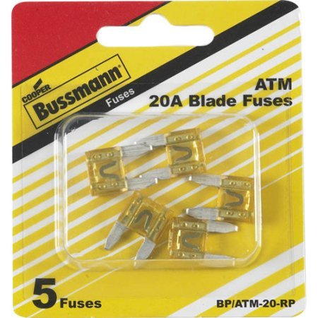 Bussmann ATM-20 ATM Automotive Blade Fuse - 20 Amp, 5 Pack (Tin)
