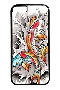 Case Cover For Apple Iphone 4/4S Koi At Play Polycarbonate Hard Case Back Case Cover For Apple Iphone 4/4S Black