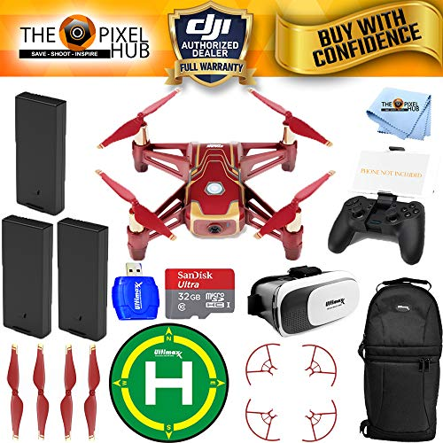 Mens Ironman Combo - DJI Ryze Tech Tello Quadcopter Iron Man Edition Drone 3 Battery (Total) Accessory Bundle with Remote Controller, 32GB MicroSD, Landing Pad, Sling Backpack and VR Goggles