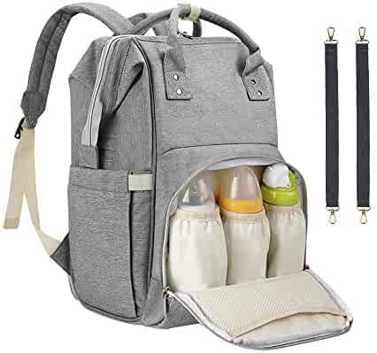 Diaper Bag Backpack, Sensyne Multi-Function Waterproof Maternity Baby Nursing Nappy Back Pack for Boy/Girl on Travel with Stroller Straps, Large & Stylish & Durable