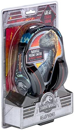 Jurassic World 2 Kids Headphones, Adjustable Headband, Stereo Sound, 3.5Mm Jack, Wired Headphones for Kids, Tangle-Free, Volume Control, Childrens Headphones Over Ear for School Home, Travel 51DGqNSQnTL