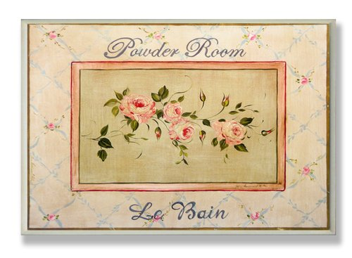 Le Bain Wall Plaque (Stupell Home Pink Powder Room Le Bain Rectangle Bath Plaque)