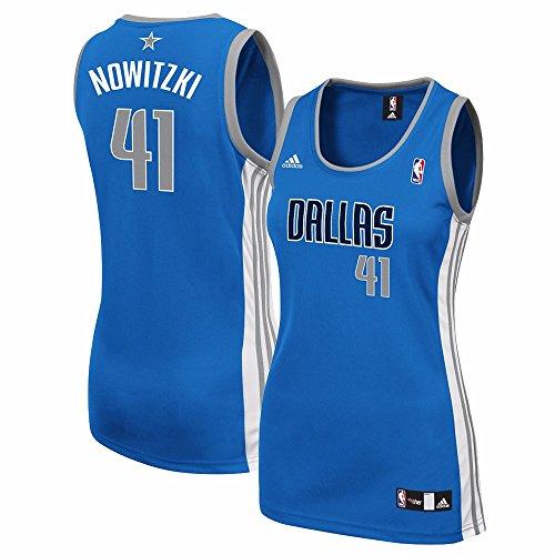 fan products of NBA Dallas Mavericks Dirk Nowitzki #41 Women's Replica Road Jersey, Small, Blue