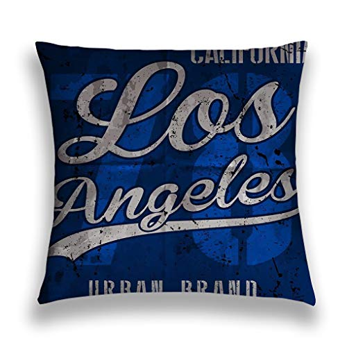 zexuandiy Decor Cotton Velvet Vintage Home Throw Pillow Case 18 x 18 Inches College Los Angeles Typography College Los Angeles -