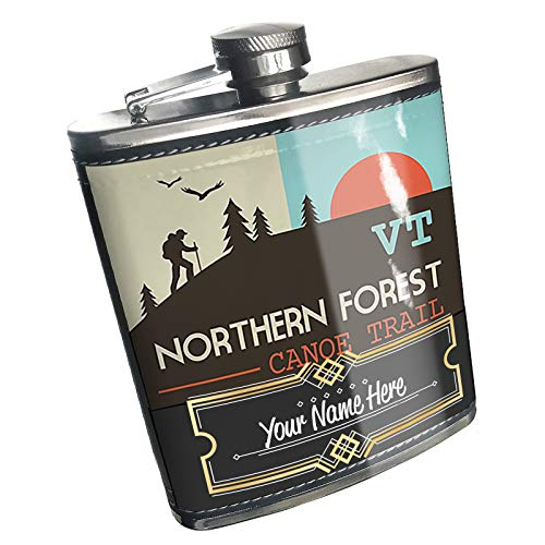 Neonblond Flask US Hiking Trails Northern Forest Canoe Trail - Vermont Custom Name Stainless Steel (Best Hikes In Northern Vermont)