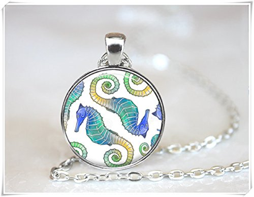 (Seahorse Necklace, Multicolor Sea Horse Jewelry, art Pendant,Coral Reef Necklace, Ocean Jewelry.)