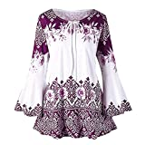 vermers Clearance Fashion Plus Size Clothing for Women Womens Printed Flare Sleeve Tops Blouses Keyhole T-Shirts(3XL, y-Purple)
