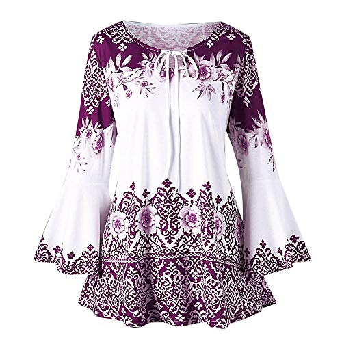 Sunhusing Women's Long Sleeve Flare Sleeve Keyhole Lace-Up Print Top Plus Size Flowy Hem T-Shirts Purple ()