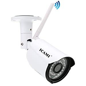 WiFi Camera ICAMI 720P Outdoor Security Camera Wireless IP Camera Waterproof Night Vision with Motion detection,Built-in 8GB Micro SD Card