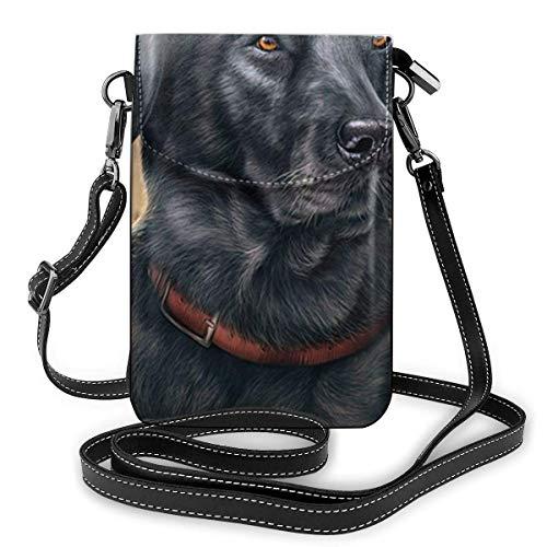 Hdadwy mobiltelefon crossbody väska svart labrador kvinnor PU-läder mode handväska med justerbar rem