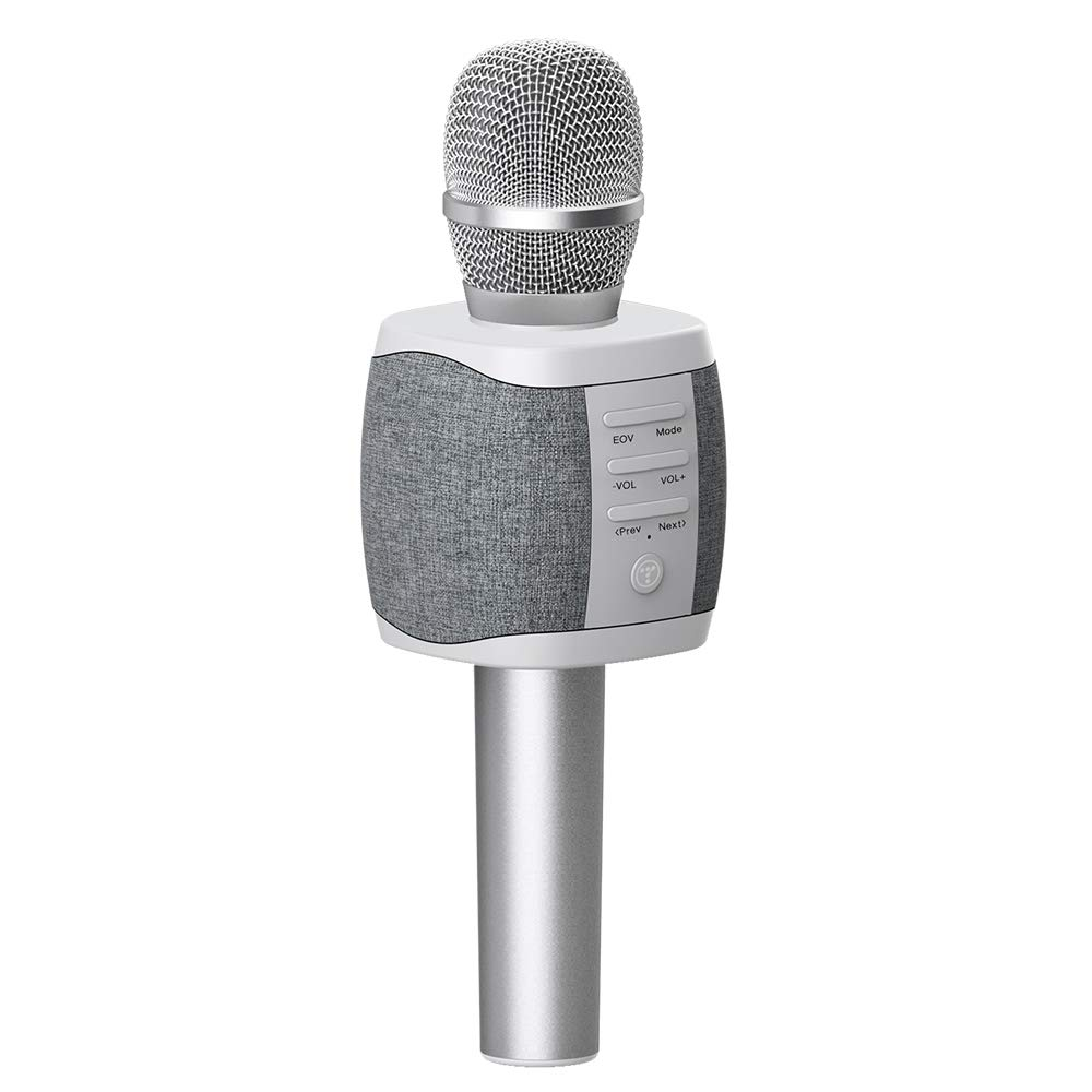 TOSING XR Wireless Bluetooth Karaoke Microphone,3-in-1 Portable Handheld karaoke Mic New Year Gift Home Party Birthday Speaker Machine for iPhone/Android/iPad/Sony, PC and All Smartphone (Light gray)