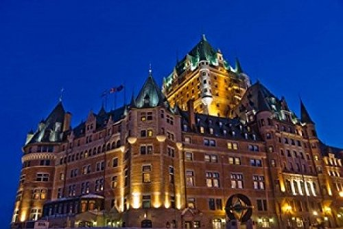 (Posterazzi Chateau Frontenac Hotel at Night Poster Print by Keren Su, (36 x 24))