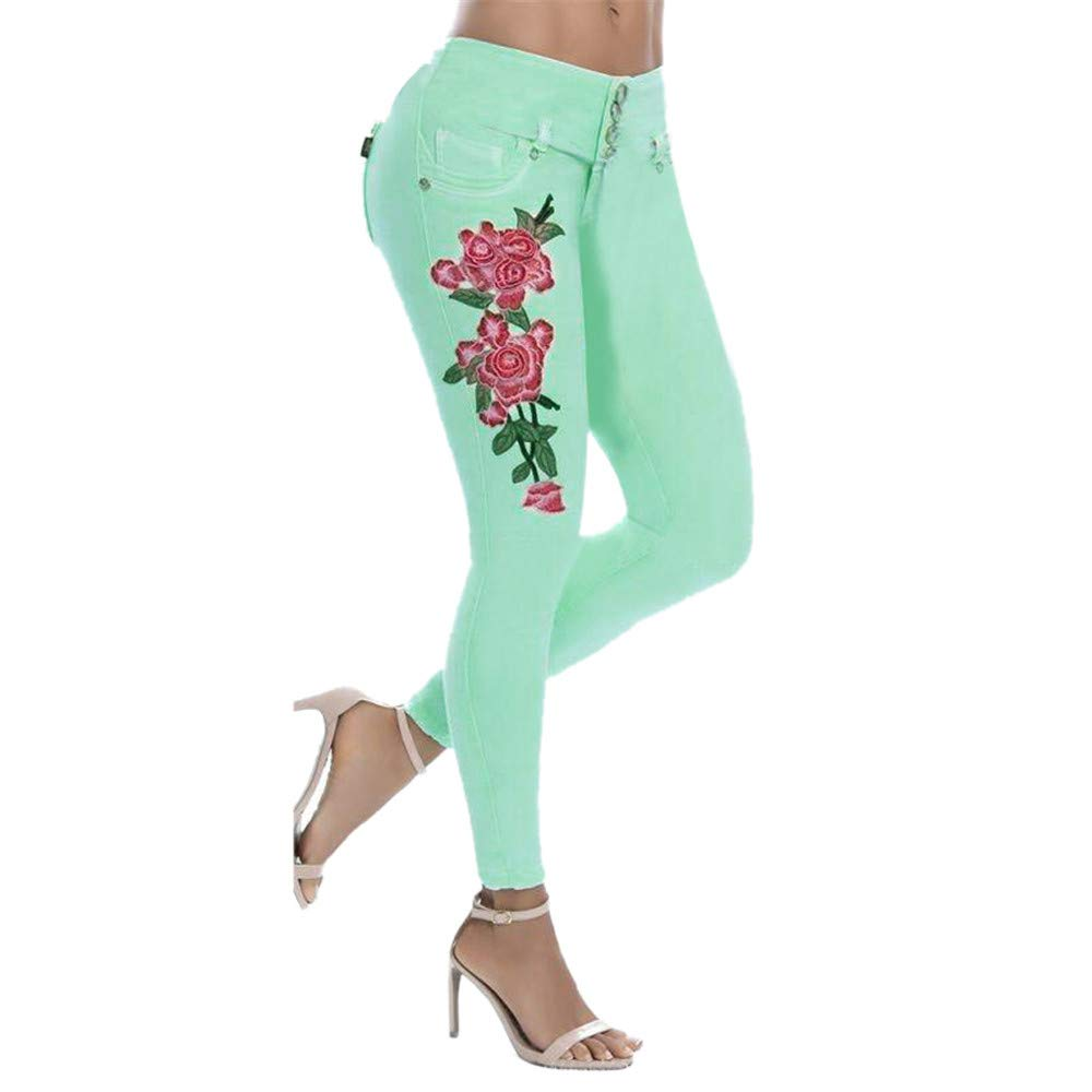 Winsummer Women's Vintage Floral Print High Waist Skinny Denim Pants Stretch Slim Pencil Jeans Trousers Green