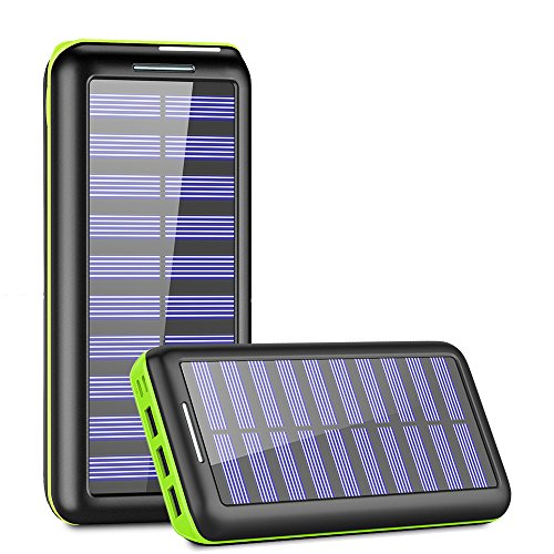 Solar Charger,KEDRON 24000mAh Portable Charger Power Bank with Dual Input Port and 3 USB Output External Battery Pack for iPhone, iPad, Samsung Galaxy, Android Phones and Other Devices(Green) (Usb External Battery)