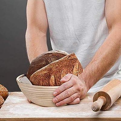 18 cm cuenco de rat/án natural para masa y pan para panaderos caseros con raspador, cortador curvo, cepillo de silicona, forro de tela Cesto redondo a prueba de banneton de 7 pulgadas