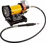 TOPCHANCES 220V Mini Bench Grinder and Polisher w Flexible Shaft Tool Rest and Safety Guard