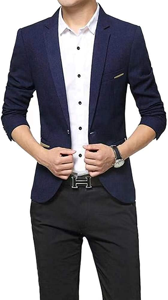 Beninos Men's Casual 1 Button Slim Fit Blazer Suit Jacket Sport Coat