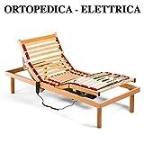 Goldflex - Rete letto a DOGHE Elettrica ORTOPEDICA, Singola 80x190 interamente in legno di faggio naturale con 2 MOTORI indipendenti con RISPARMIO dell'ENERGIA a Basso Consumo 0,5 W e alzacuscino, zona lombare con REGOLATORI di rigidità. In DOTAZIONE L'abbassamento d'emergenza in MANCANZA di CORRENTE (Batteria da 9 V. Inclusa) // 4 zone reclinabili + 1 fissa (centrale). Compresa di 4 piedini in legno massello avvitabili di diverse altezze