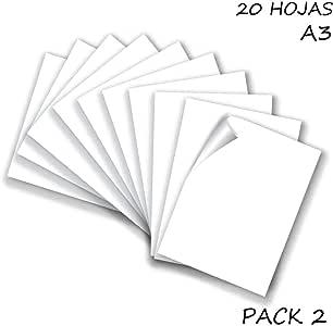 Starplast, Pack 2 Blocs de Papel, Cartulinas A3, 20 Hojas A3, 180gr/m² para Manualidades, Dibujo, Diseños, etc. Blanco: Amazon.es: Oficina y papelería