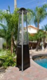 """AZ Patio Heaters NG-GT-BRZ 94"""" Tall Natural Gas Glass Tube Outdoor Patio Heater, Hammered Bronze Finish"""