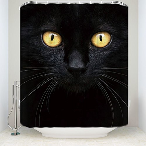 Cloud Dream Fabric Waterproof Shower Curtain Liner,black,Halloween Cat Eyes]()