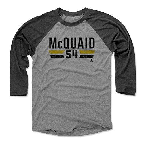500 LEVEL's Adam McQuaid 3/4th Sleeve Baseball T-Shirt XXL Black / Heather Gray - Adam McQuaid Boston Font K - Boston Hockey Fan Gear