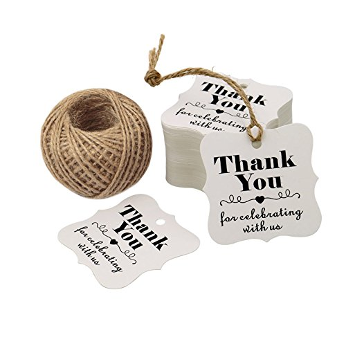Paper Gift Tags, Thank You for Celebrating with US, Square Thanks Label for Baby Shower, Bridal Wedding, Anniversary Celebration (Bridal Shower Labels)