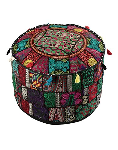 Cotton Round Ottoman (Decorative Home Indian Pouf, Foot Stool, Round Ottoman Cover Pouf,Traditional Handmade Patchwork Ottoman Cover,Black Indian Cotton Cushion Ottoman Cover 18 x 14