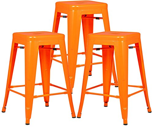 Poly and Bark Trattoria 24″ Counter Height Stool in Orange (Set of 3) Review