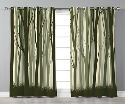 Thermal Insulated Blackout Grommet Window Curtains,Apartment Decor,Mother Nature Theme Illustration of Mystic Forest with Trees,Army Green and Sage Green,2 Panel Set Window Drapes,for Living Room Bedr from iPrint