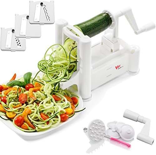 WonderVeg Spiralizer Vegetable Slicer - Tri Blade Spiral Slicer - Cleaning Brush, Mini Recipe Book and 6 Spare Parts Included - Zucchini Spaghetti Pasta Noodle Maker