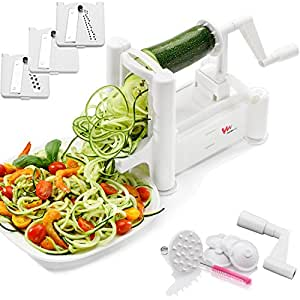 WonderVeg Spiralizer Vegetable Slicer - Tri Blade Spiral Slicer - Cleaning Brush, Mini Recipe Book and 6 Spare Parts Included - Zucchini Spaghetti Pasta Noodle Maker