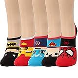 5 Pairs Marvel Original Avengers Low cut Crew Ankle No Show Socks (5pairs-No Show Socks)
